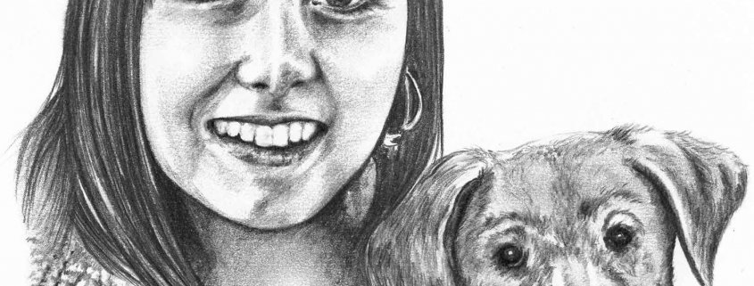 Pencil Portrait of Girl with Dog