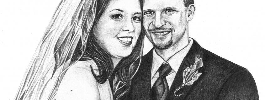 Portrait Drawing of Wedding Couple
