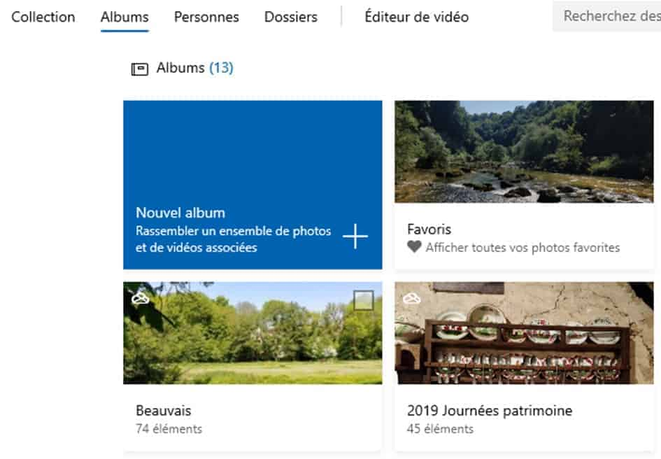 L'onglet Albums de Microsoft Photos