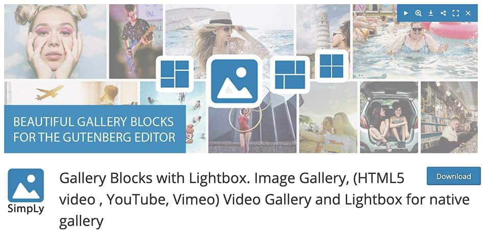 Gallery Blocks with Lightbox. Image Gallery, (HTML5 video , YouTube, Vimeo) Video Gallery and Lightbox for native gallery