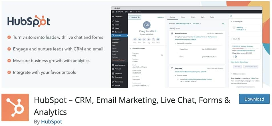 HubSpot – CRM, Email Marketing, Live Chat, Forms & Analytics