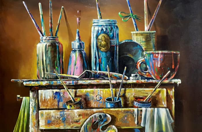 Original Oil Painting: Artist's brushes