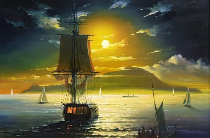 Original Oil Painting: Mediterranean Sea