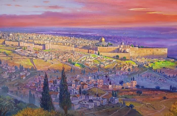 Original Oil Painting: Jerusalem the center of the world