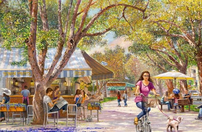 Original Oil Painting: Let's meet on Rothschild Boulevard