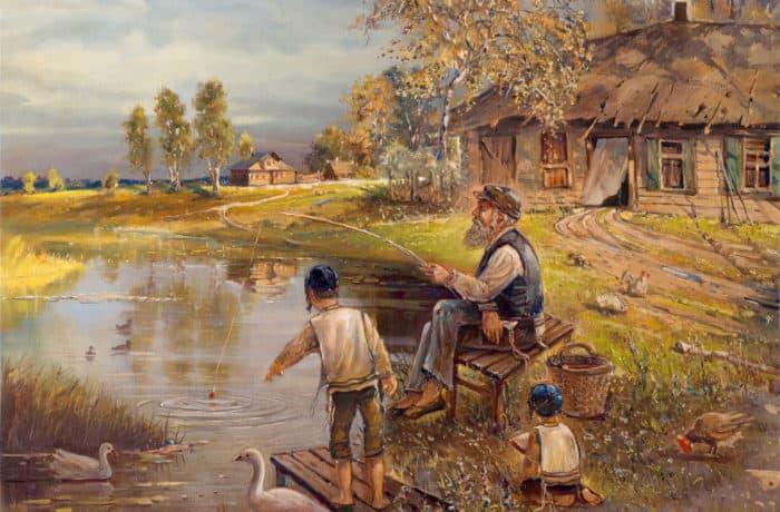Original Oil Painting: Life in Shtetl