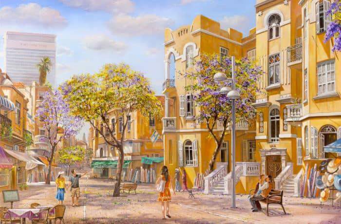 Original Oil Painting: Love under the sky of Tel Aviv
