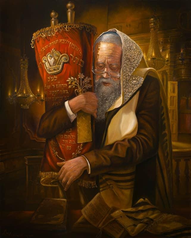 jewish man praying with torah