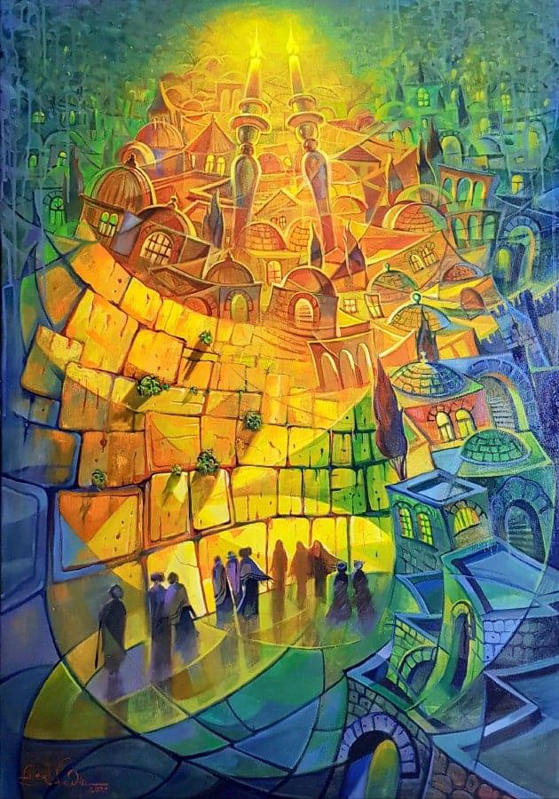 Original Oil Painting: Shabbat covering Jerusalem