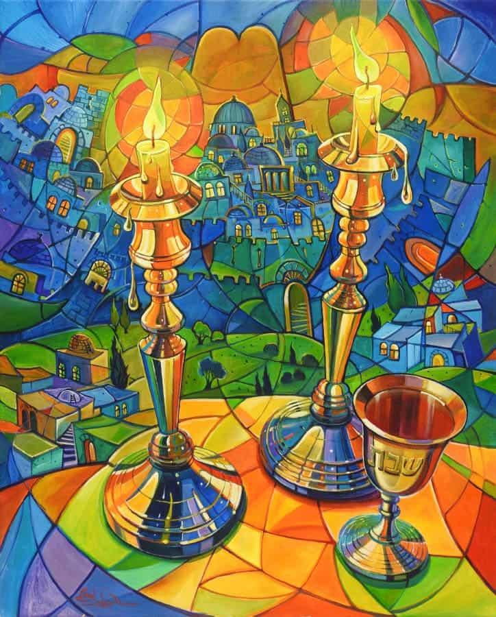 shabbat candles abstract painting