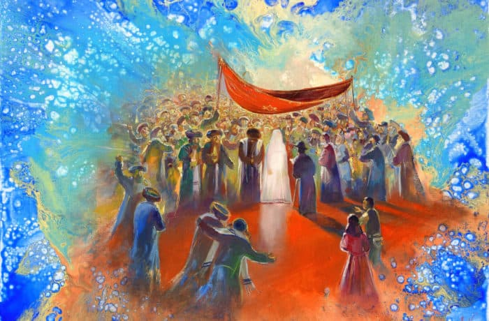 Original Oil Painting: Surrounding Energy of Chuppah Ceremony