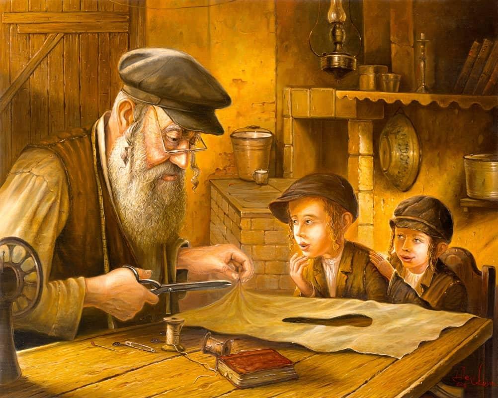 Jewish Painting of man and kids