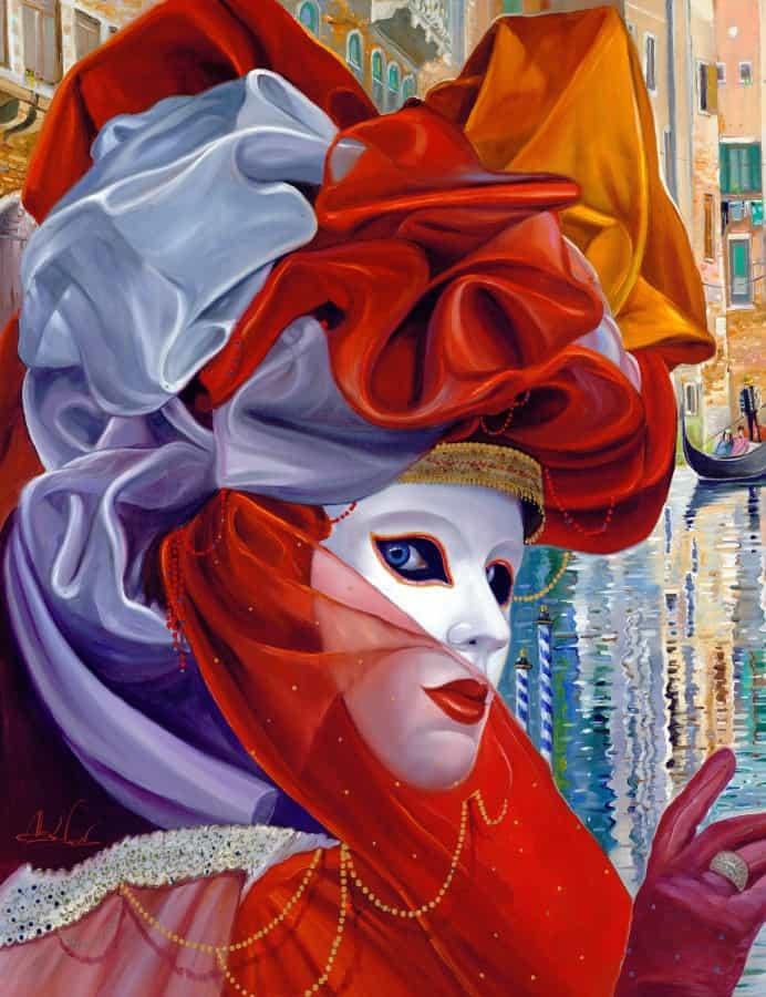 Original Oil Painting: Venetian mesmerizing gaze