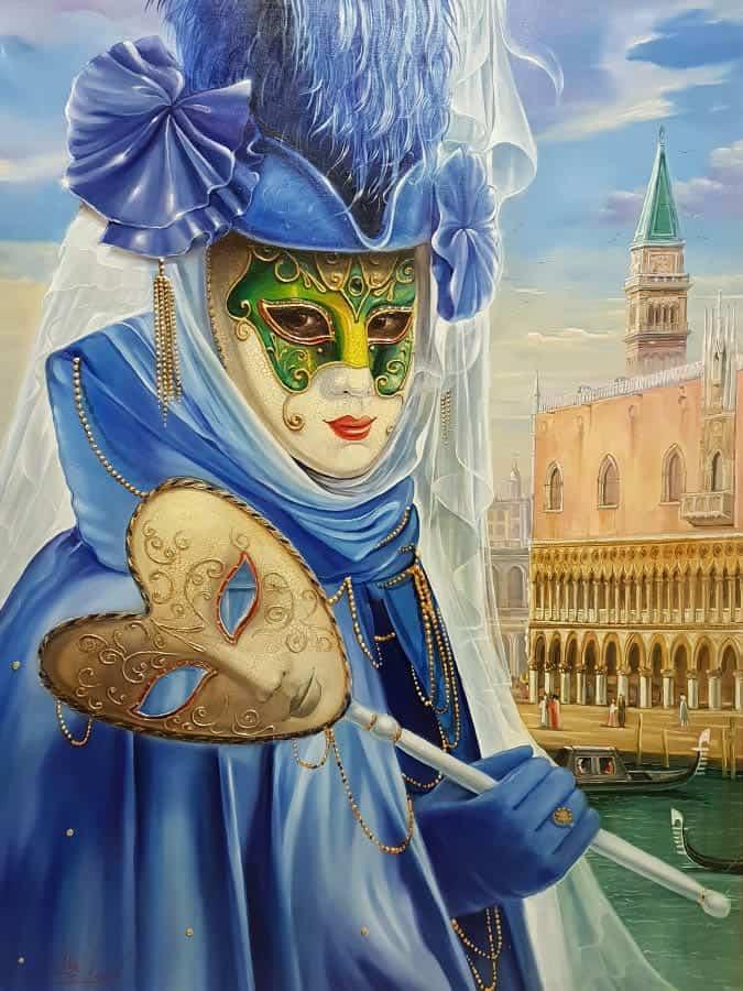 Original Oil Painting: Hidden truth beneath the mask