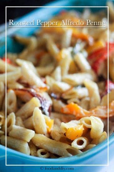 Roasted Pepper Alfredo Penne in blue casserole dish