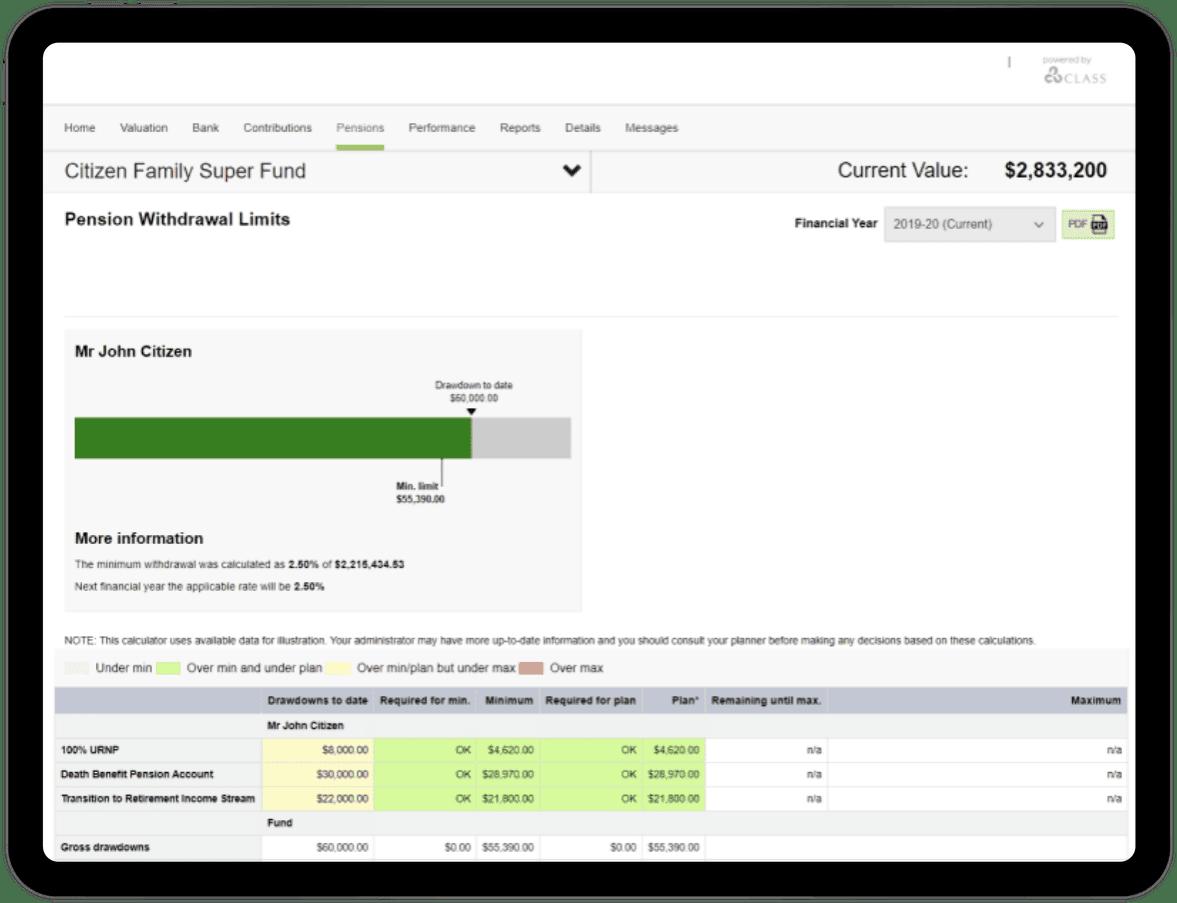 SMSF pension drawdown tracking online
