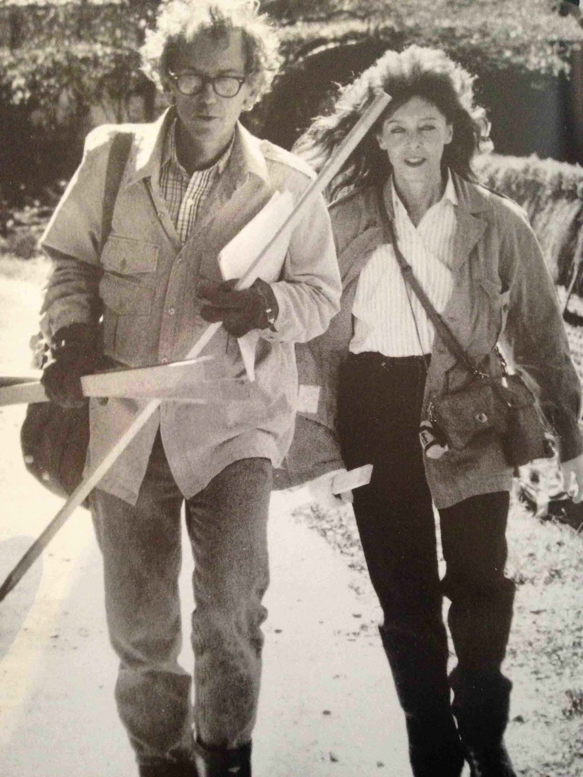 Christo and Jeanne-Claude working on The Umbrellas, Japan-USA in Ibaraki, Japan, 1988.