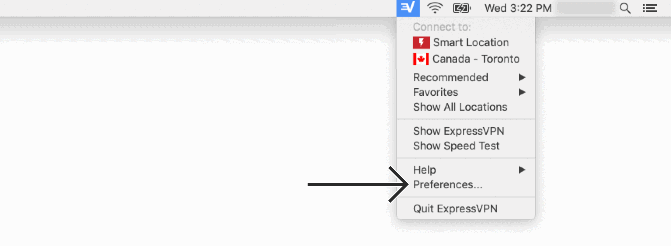 """Click the ExpressVPN Menu Bar icon and then """"Preferences."""""""