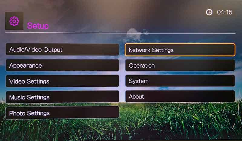 go to network settings