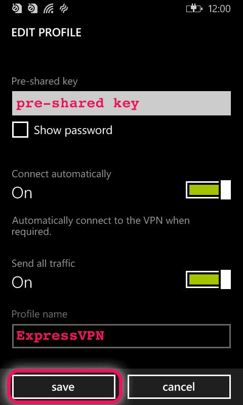 enter your preshared key