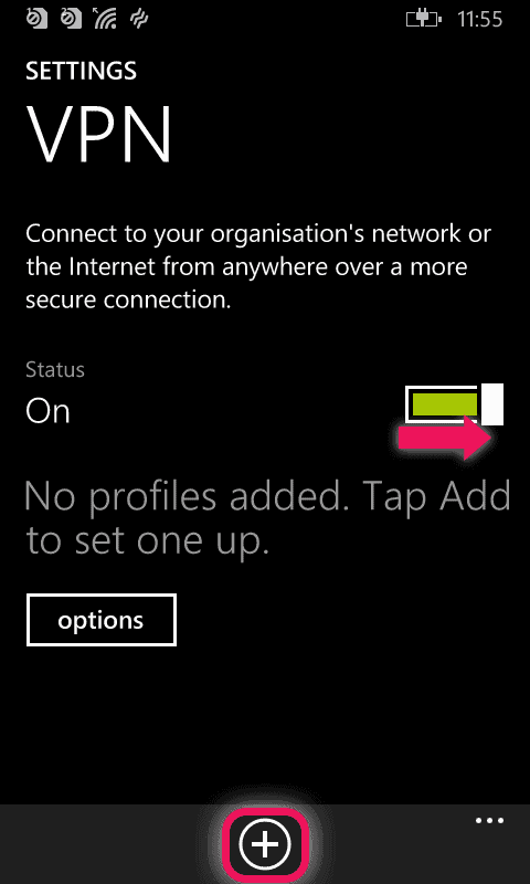 vpn status on and add profile