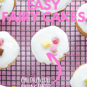 Fairy Cakes Pinterest image with text.