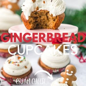 Two images with christmas gingerbread cupcakes with text overlay for Pinterest.