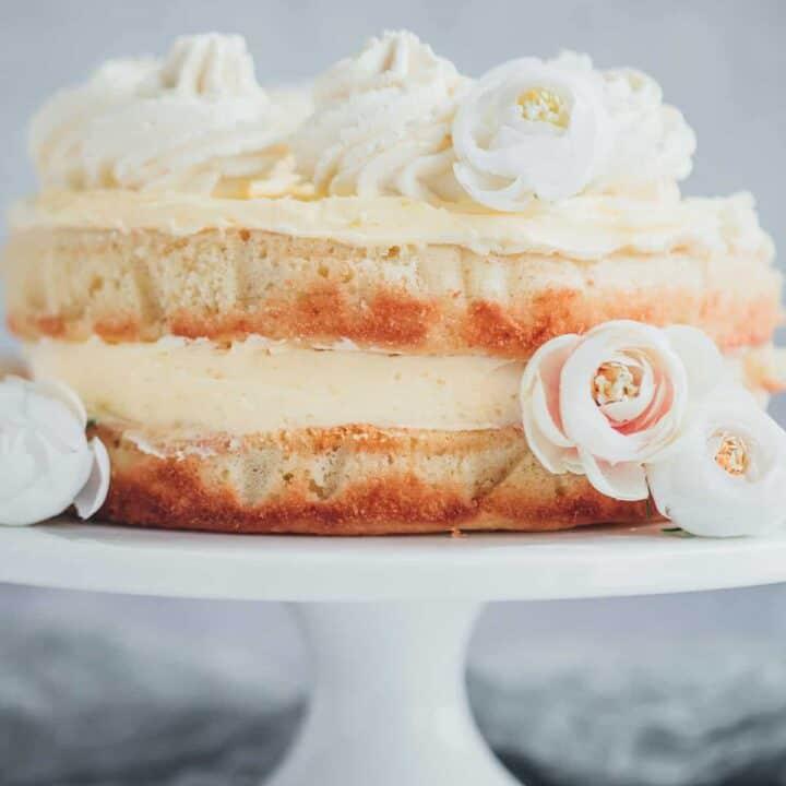 A two layer lemon cake with lemon buttercream.