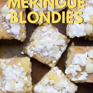 Lemon Meringue Blondies Pinterest image with text overlay.