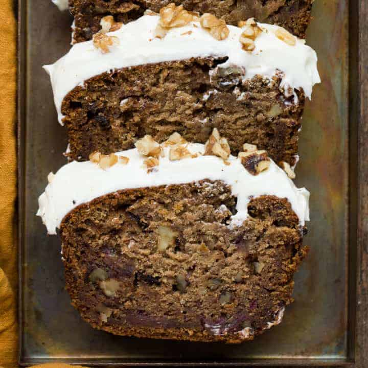 Two slices of date and walnut cake.